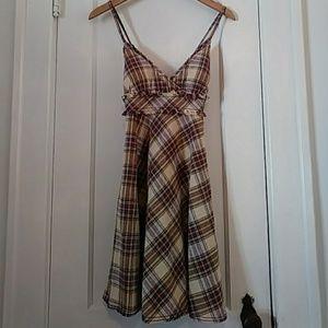 Free People Linen Plaid Summer Cami Strap Dress 6